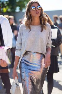 This tight metallic silver skirt is so BRILLIANT looking. I love the glasses too!