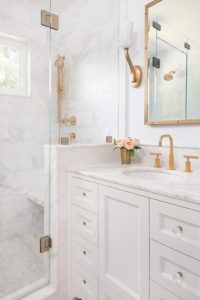 White gold flowers bathroom diy