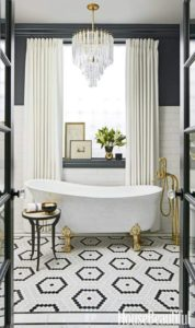 white bathroom blue white gold luxurious