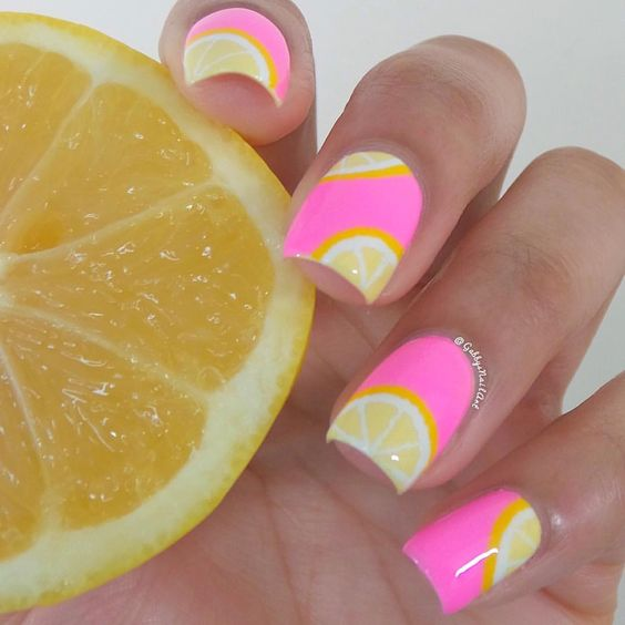 15 Summer Nails for Fun in the Sun - pink and yellow lemon nails