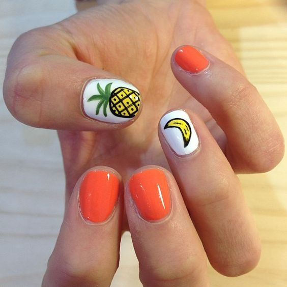 15 Summer Nails for Fun in the Sun - pineapple and banana nail design