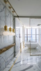 white gold marble bathroom