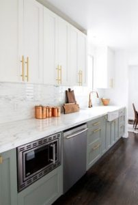 two toned kitchen gold white green olive