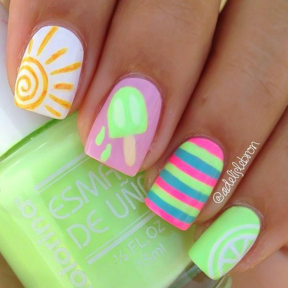 15 Summer Nails for Fun in the Sun - Sun ice cream summer nails