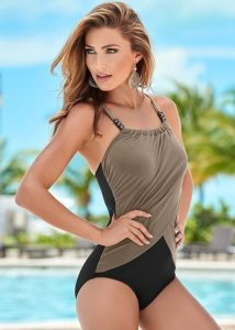 draped swimsuit