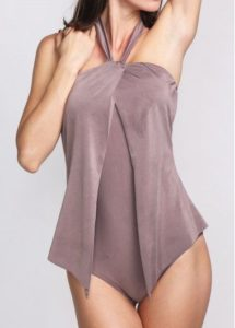 draped purple swimsuit one piece