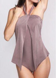 draped purple swimsuit one piece