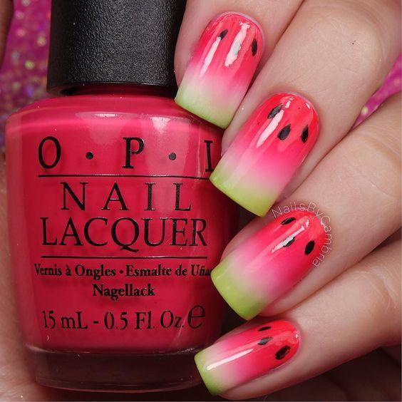 15 Summer Nails for Fun in the Sun - juicy watermelon nail art