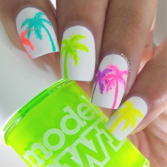 15 Summer Nails for Fun in the Sun - neon trees nail design