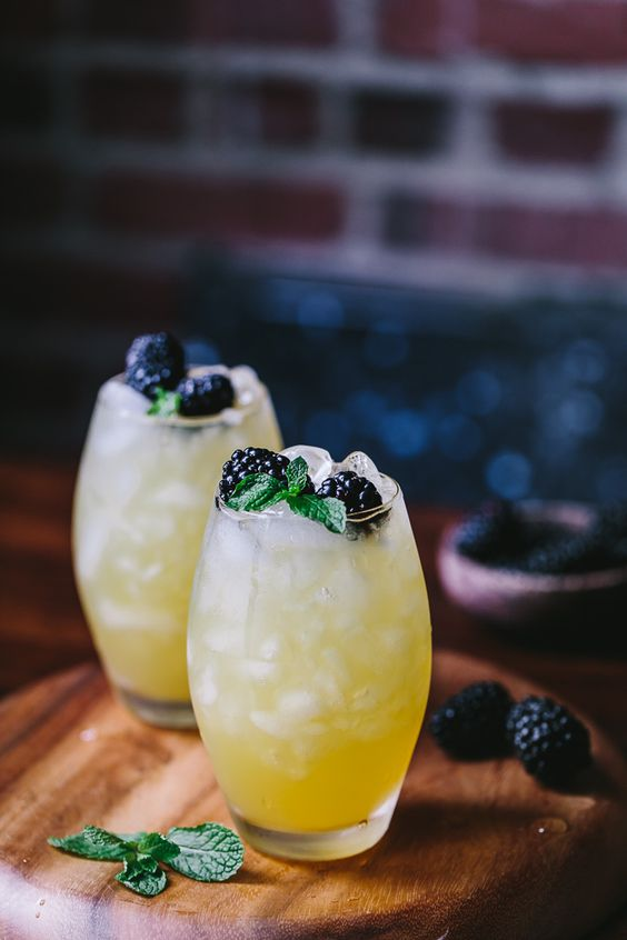 mango and blackberry vodka cooler