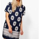 Edie Cap Sleeved Border Print Shift Dress