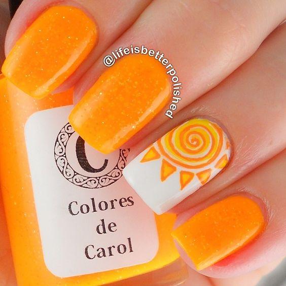 15 Summer Nails for Fun in the Sun - orange sun nail art