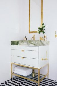 white gold green bathroom diy