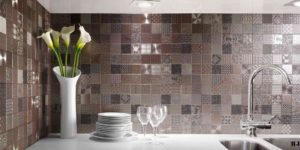 mosaic silver shiny metallic tile bathroom