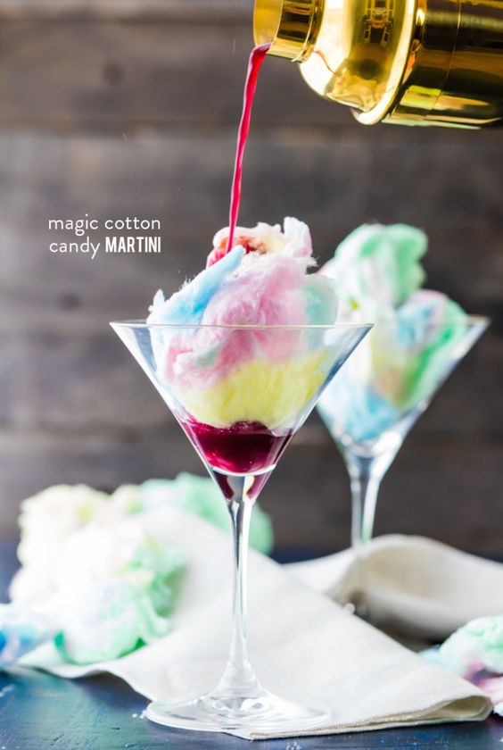Adding cotton candy to a cocktail sounds so fun and absolutely genius!