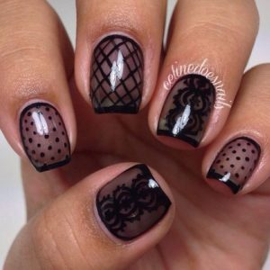 These black lace nails remind me of velvet! I love it!