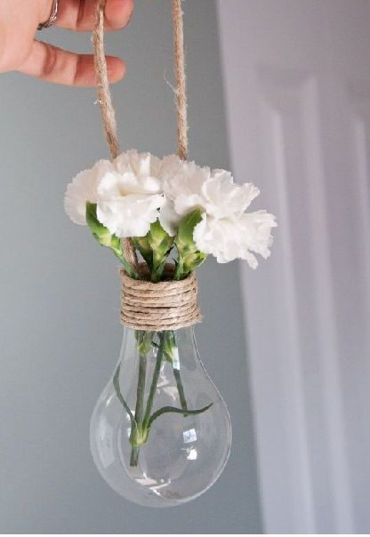 This hanging light bulb planter is a great DIY recycle project if you have old light bulbs hanging around!