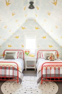 This yellow and blue wallpaper is just so lighthearted and perfect for a kids room.