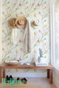 This colorful bird pattern wallpaper is just what I need to make my home design perfect! It's too cute!