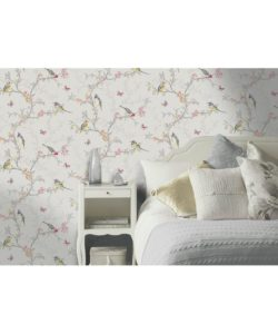 This soft colored bird wallpaper is just so stunning! I'd love it for a powder room or around my vanity.