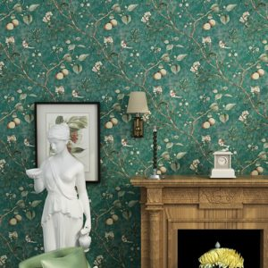 I am in love with this green vintage styled wallpaper!