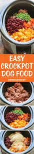 This dog food DIY crock pot recipe is super easy to make! Your dog will love it!