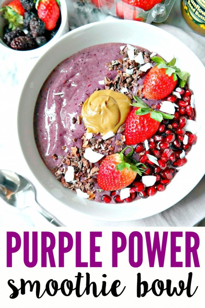 """This """"Purple Power"""" smoothie bowl looks so delicious! It will for sure help you get fit for the warm weather!"""