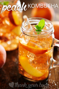 This peach kombucha recipe sounds like it'd be a delicious treat for a spring or summer party!