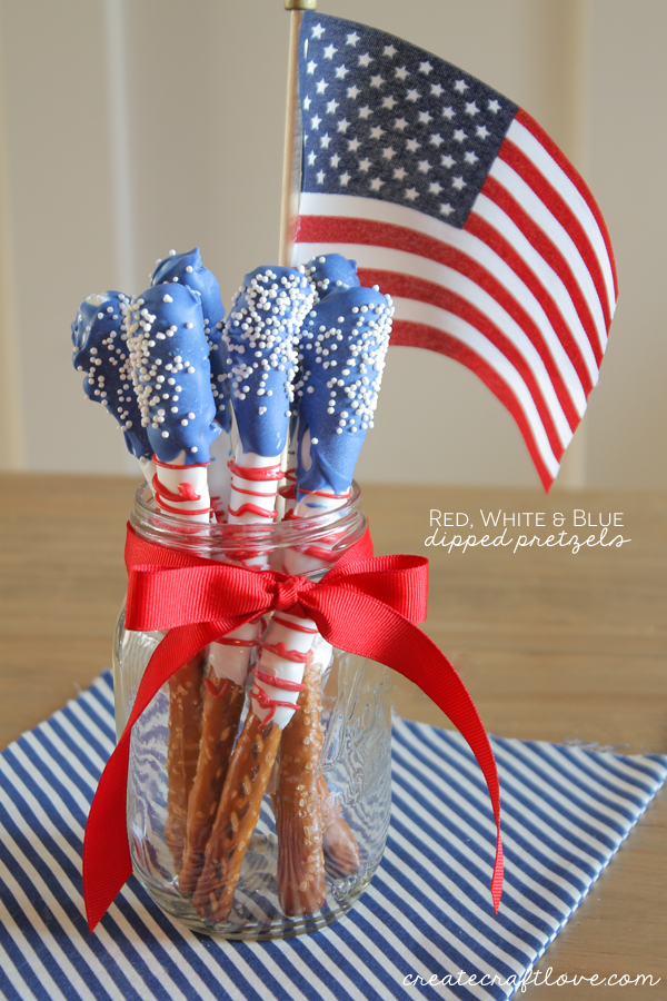 red white and blue patriotic dipped pretzels