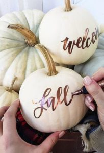 Rustic White Pumpkin Fall Decor