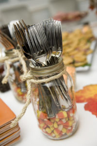 Autumn Party Candy Corn Silverware Holder