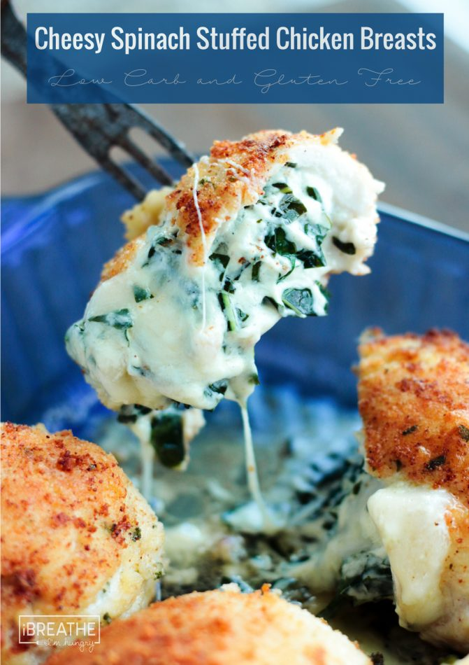 Keto Cheesy Spinach Stuffed Chicken Breasts