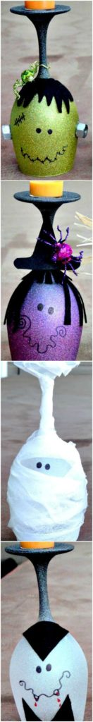DIY Halloween Witch, Frankenstein, Mummy, Vampire and Ghost Candle Holders