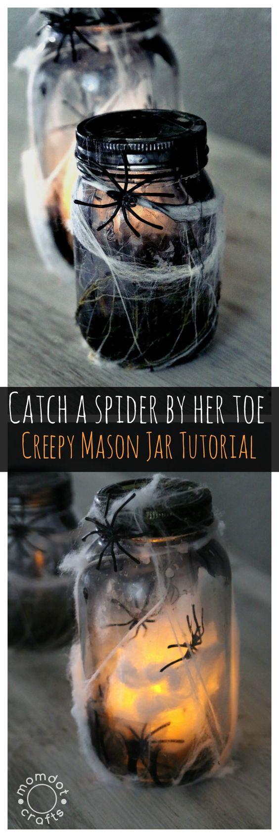 DIY Creepy Spider Mason Jar Tutorial