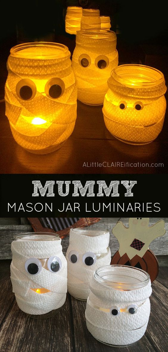 DIY Mummy Mason Jar Luminaries