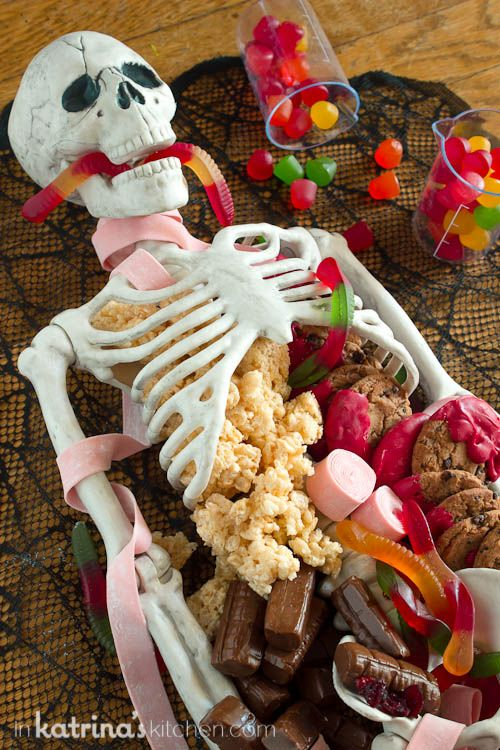 DIY Spooky Skeleton Party Platter Decor