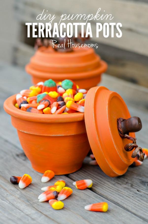 DIY Pumpkin Terracotta Pots Filled With Candy Corn