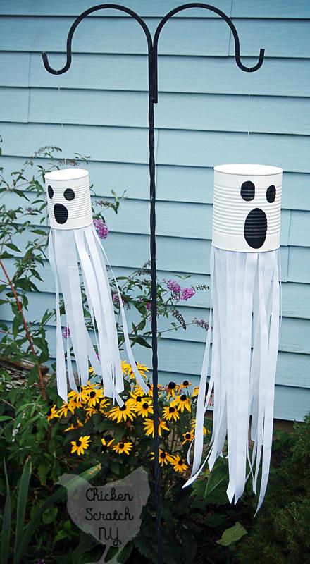 DIY Tin Can Ghost Halloween Front Yard Decor