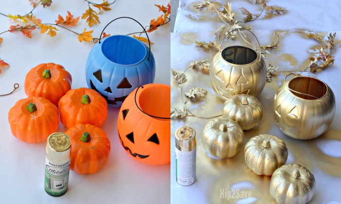 DIY Gold Spray Painted Halloween Pumpkin Candy Holder