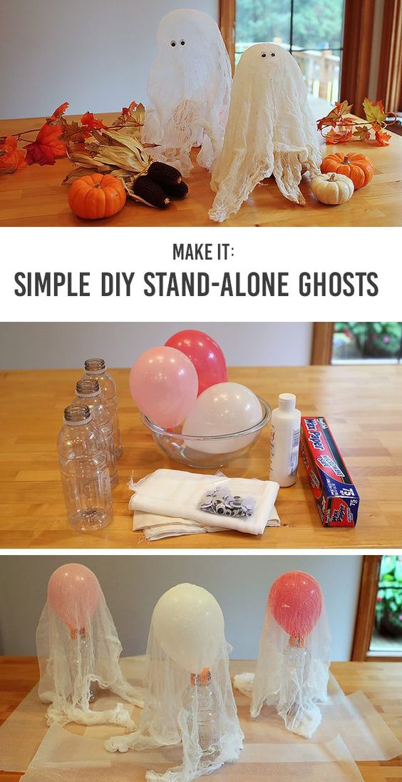 Adorable DIY Simple Stand-Alone Ghosts for Tabletops