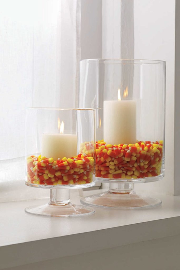 DIY Candy Corn Candle Halloween Party Decor