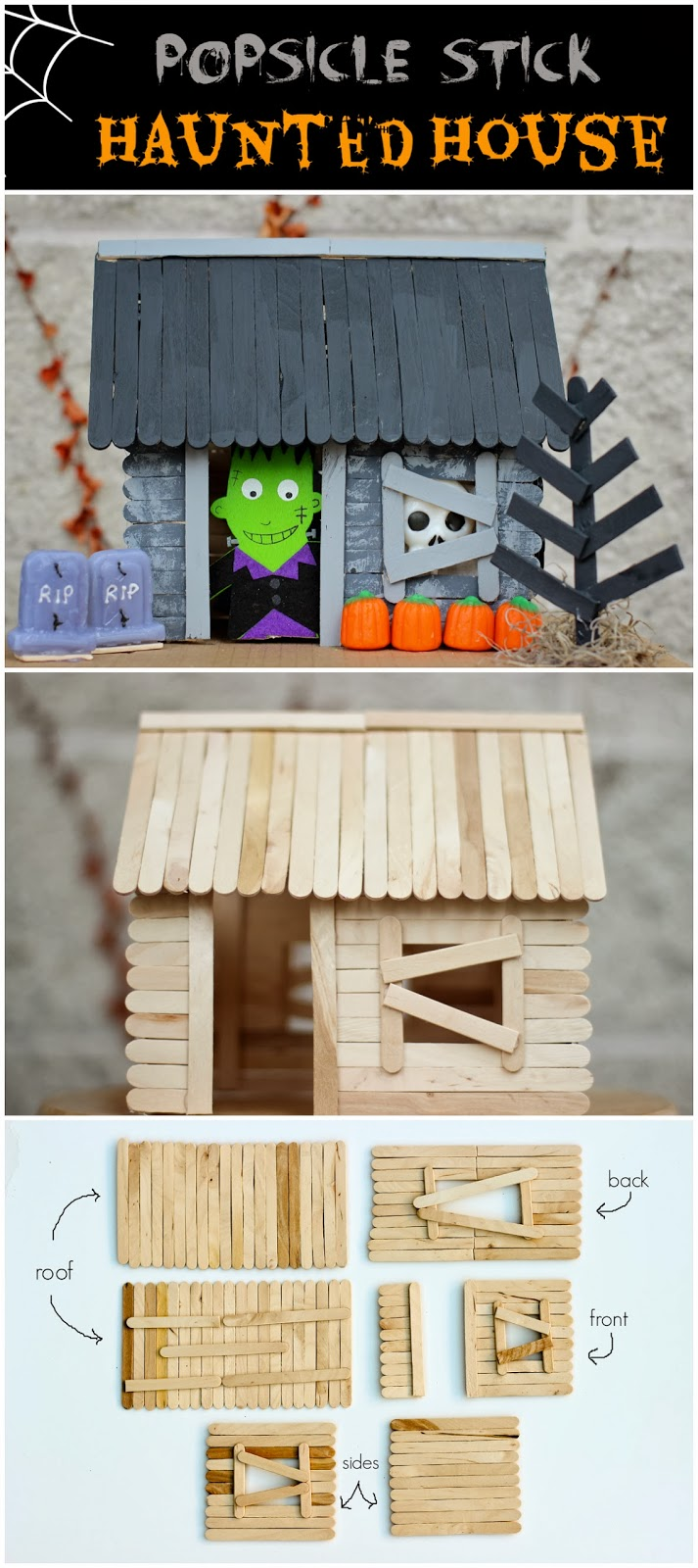 DIY Popsicle Stick Haunted House for Halloween Decor