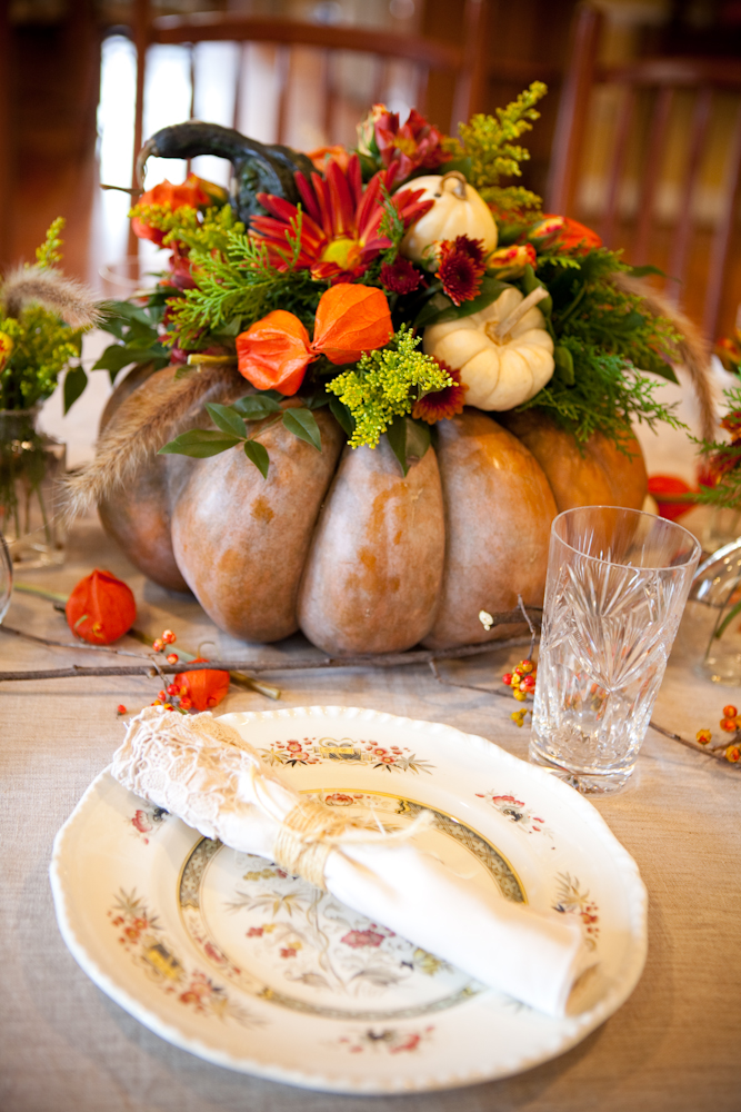 large floral pumpkin centerpiece