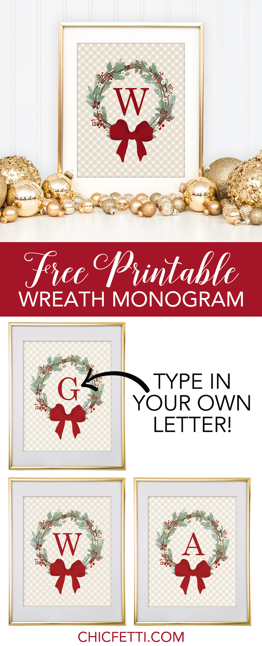 picture about Free Printable Monogram identified as absolutely free-printable-monogram-producer-xmas-weath - DIYbunker