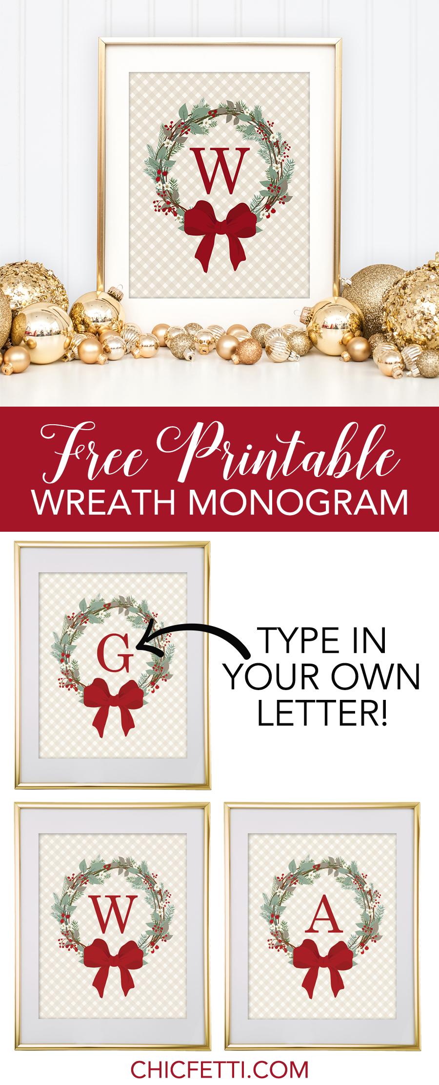 free printable monogram maker christmas weath