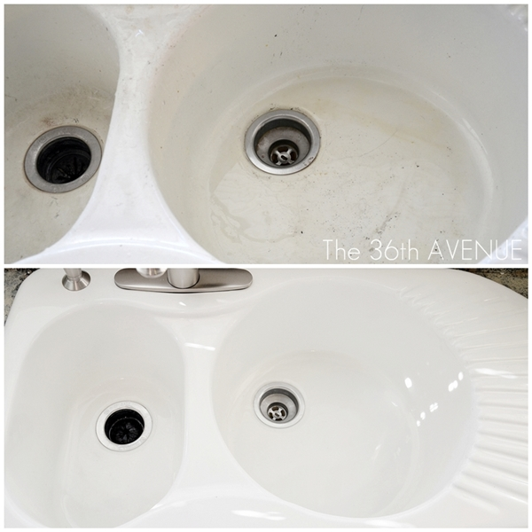 Getting these sinks to look like brand new was a BREEZE once I knew this hack!