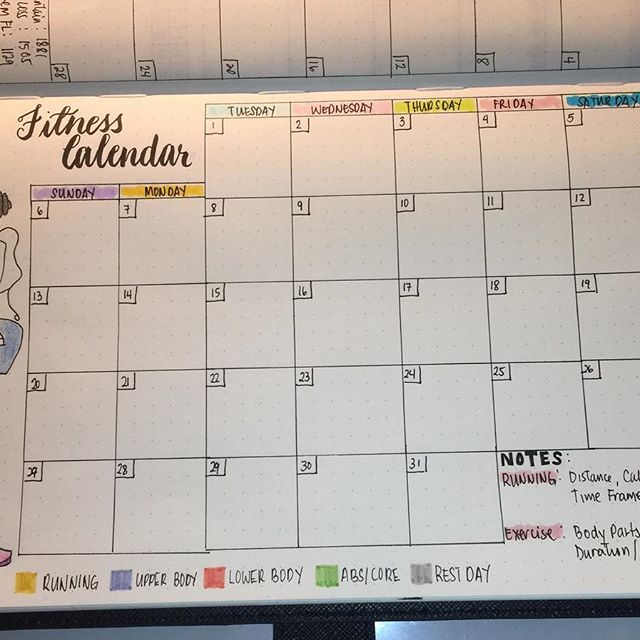 Easy Fitness Calendar Bullet Journal