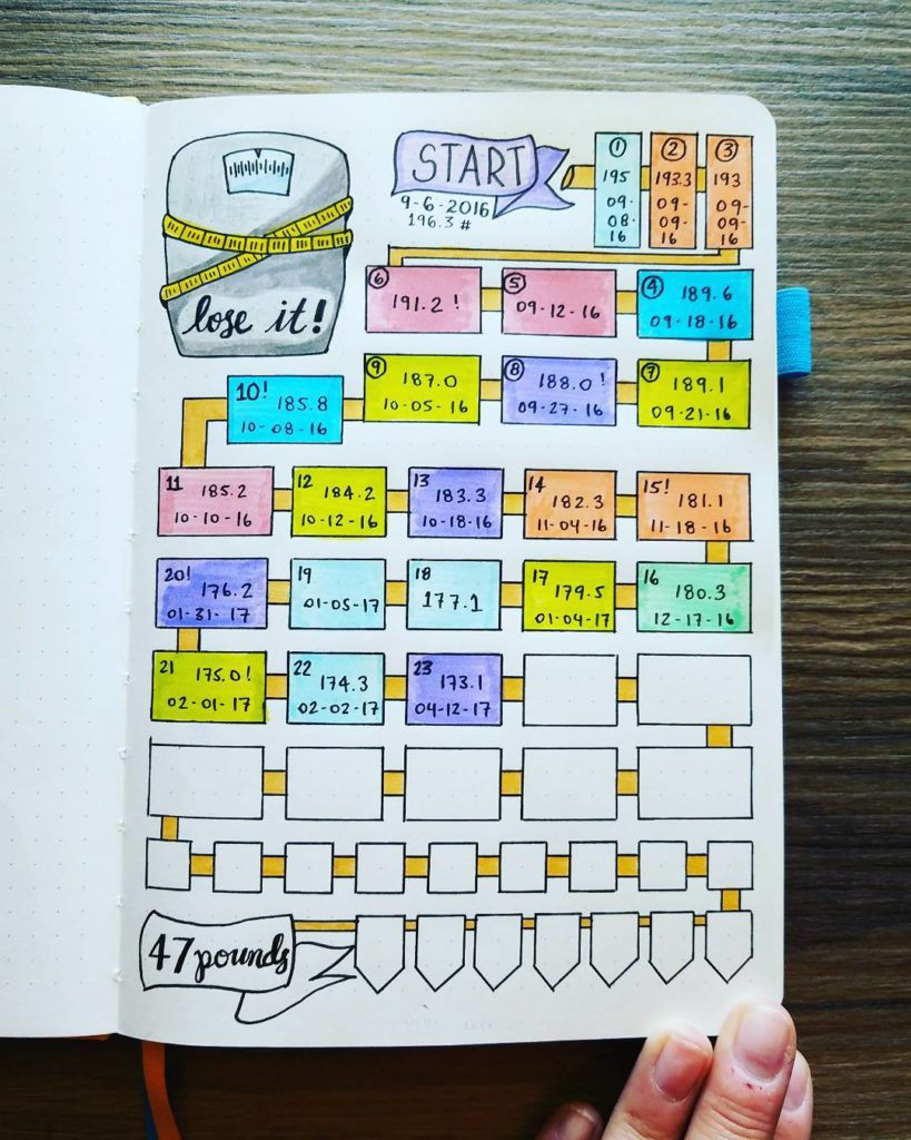 bullet journal for weight loss  12 pages for smashing