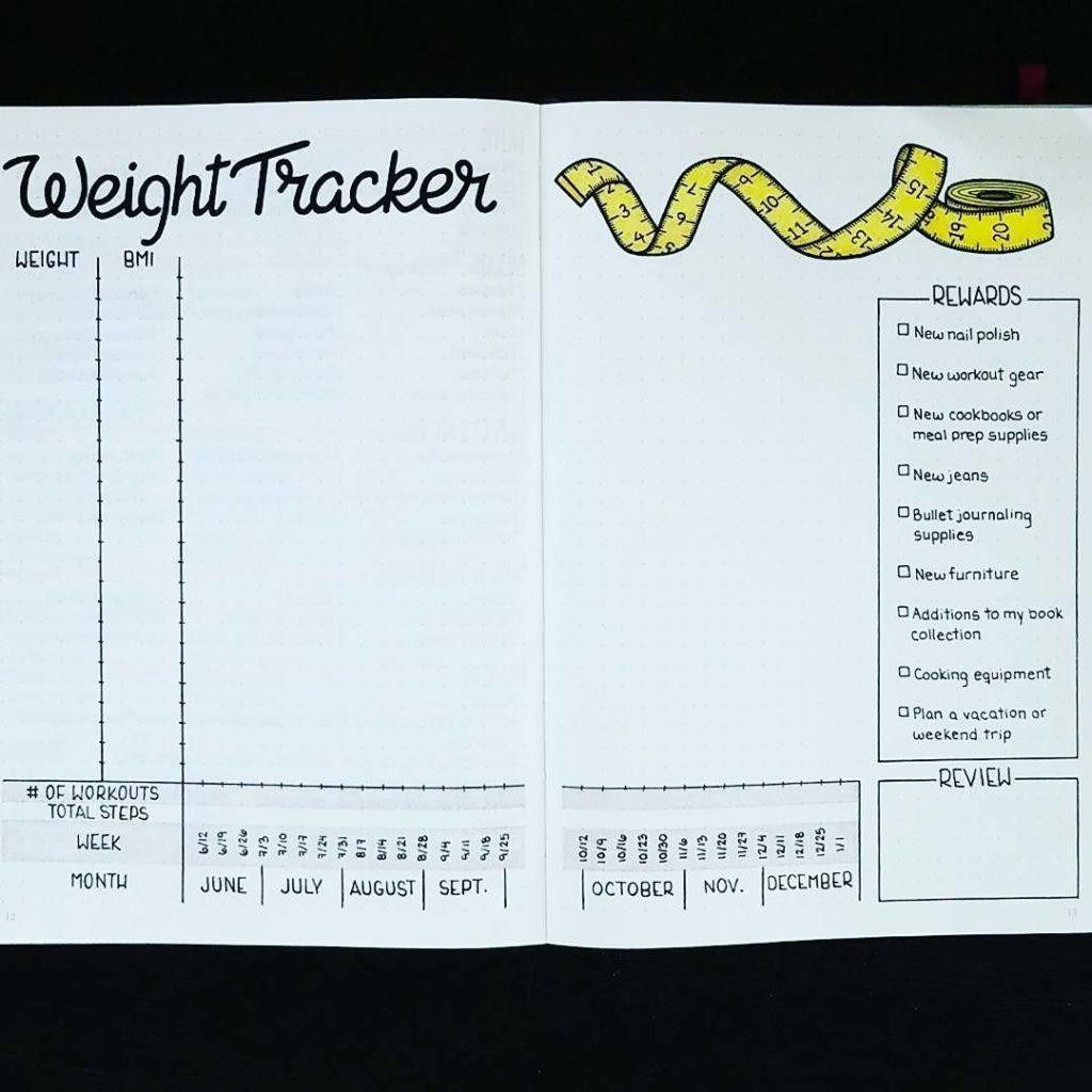 Weight Tracker Bullet Journal Fitness Planner