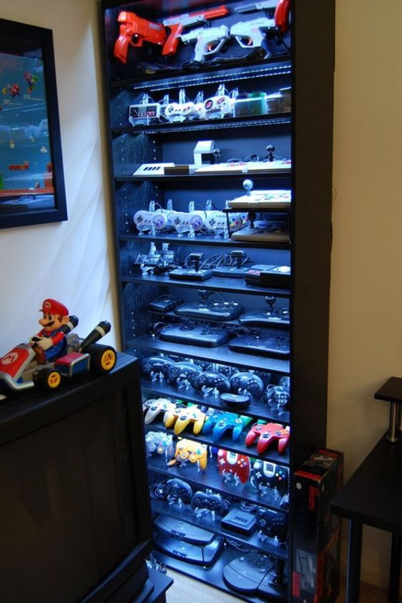Video Game Accessory Display Case Gaming Room Setup